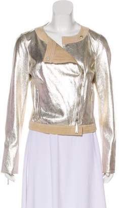 Fendi Leather Evening Jacket Silver Leather Evening Jacket