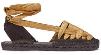 Castaner Jean Laced Canvas Espadrilles - Womens - Black Gold