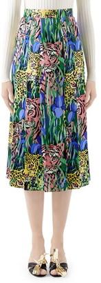 Gucci Pleated Feline Garden Print Silk Twill Skirt