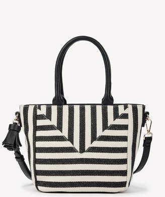 Sole Society Women's Ginny Satchel Small In Color: Black White Stripe Bag Vegan Leather Canvas From