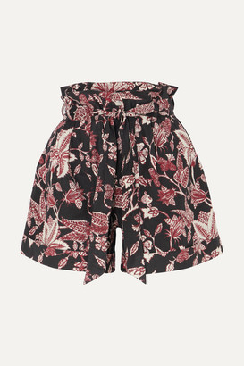 Isabel Marant Lweni Floral-print Cotton Shorts - Black