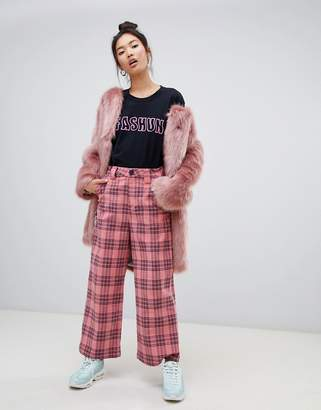 Lazy Oaf corduroy check wide leg pants