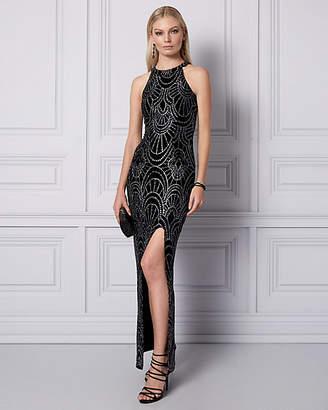 Le Château Sparkle Knit Halter Gown