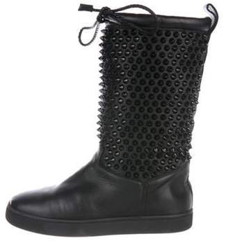 Christian Louboutin Studded Leather Mid-Calf Shearling Boots Black Studded Leather Mid-Calf Shearling Boots