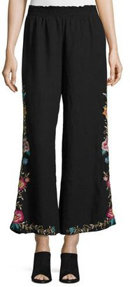 JWLA For Johnny Was Tuscany Embroidered Linen Palazzo Pants $200 thestylecure.com
