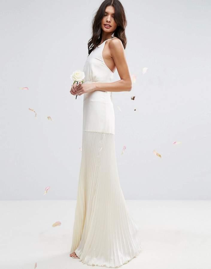 AsosASOS BRIDAL Cami Paneled Maxi Dress with Pleated Skirt