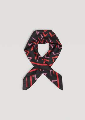 Emporio Armani Pure Silk Scarf With Geometric Pattern