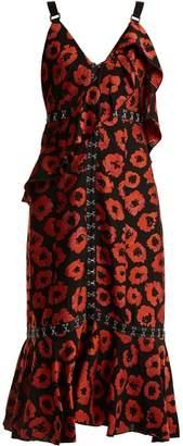 Proenza Schouler Floral-jacquard ruffle-trimmed dress