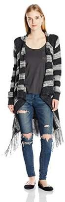 Love By Design Juniors Stripe Flyaway Cardigan Sweater