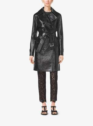 Michael Kors Crackle Patent-Leather Trench Coat
