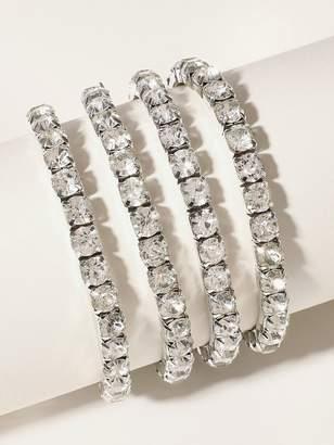 Shein Rhinestone Engraved Elastic Bracelet 4pcs