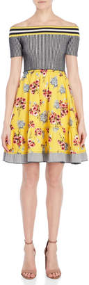 I'M Isola Marras Off-the-Shoulder Mix Media Dress