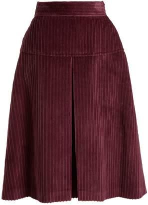 Miu Miu High-rise pleated cotton-corduroy midi skirt