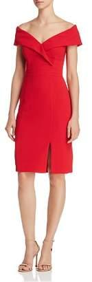 Aqua Fold-Over Off-the-Shoulder Sheath Dress - 100% Exclusive