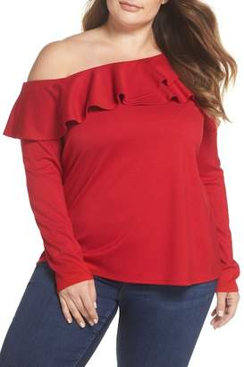 Gibson x Living in Yellow Elizabeth One-Shoulder Ruffle Top (Plus Size) (Nordstrom Exclusive)