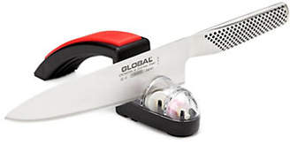 Global Two-Piece Stainless Steel Knife and Sharpener Set