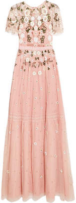 Needle & Thread - Lace-trimmed Embellished Tulle Gown - Pastel pink $425 thestylecure.com