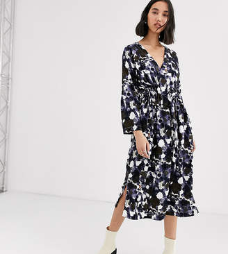 NATIVE YOUTH exclusive smock dress with tie waist in abstract smudge print