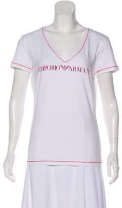 Emporio Armani Short Sleeve V-Neck Top