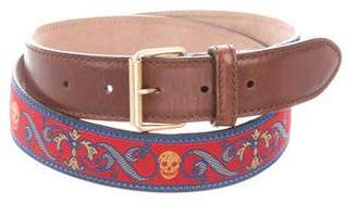 Alexander McQueen Leather-Trimmed Jacquard Belt