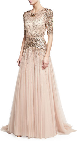Jenny Packham Beaded Short-Sleeve Tulle Gown