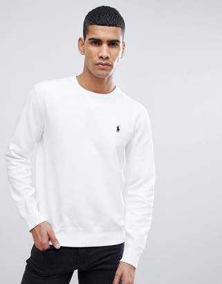 Polo Ralph Lauren Crew Neck Sweatshirt With Polo Player Logo In White