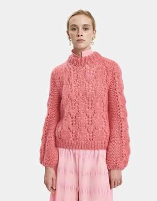 Ganni Julliard Mohair Sweater in Hot Pink