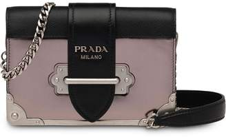 Prada grey, black and pink cahier mini leather shoulder bag
