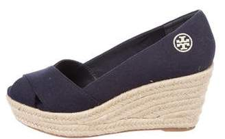 Tory Burch Canvas Crossover Wedges