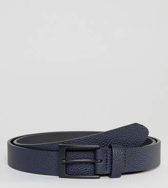 Asos PLUS Smart Slim Belt With Pebble Grain Emboss In Navy Faux Leather