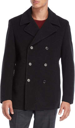 John Varvatos Dark Charcoal Picket Double-Breasted Peacoat