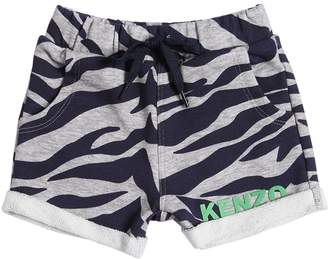 Kenzo Zebra Print Cotton Sweat Shorts