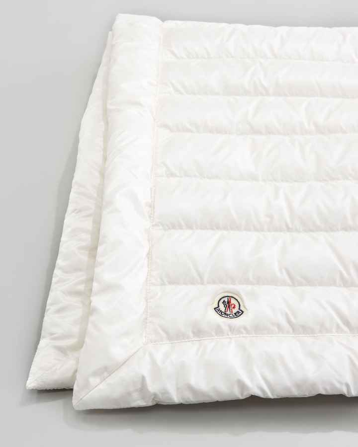 Moncler Packable Quilted Blanket, Cream