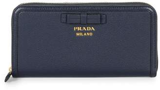 Prada Bow Detail Continental Leather Wallet