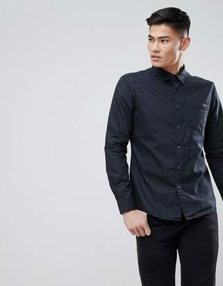 Esprit Dark Coated Black Denim Shirt