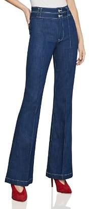 BCBGMAXAZRIA Pintuck Flared Jeans in Rinse Wash