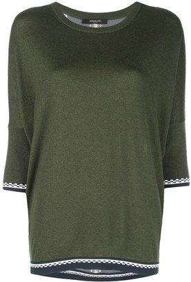 Derek Lam Crewneck Dolman Cashmere Sweater with Printed Silk Back