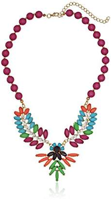 Shiny Gold-Tone with Pink and Red Stones Statement Necklace