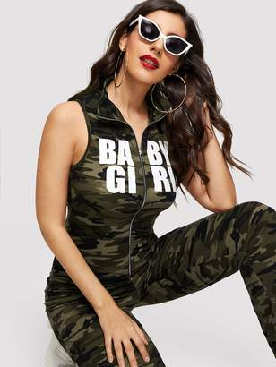 Shein Camouflage and Letter Print Zip Up Jumpsuit