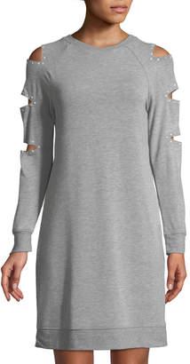 Neiman Marcus Ladder-Sleeve Pearlescent-Trim Sweatshirt Dress