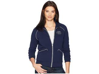 Lacoste Long Sleeve Crepe French Terry Athleisure Badge Zippered Sweatshirt