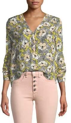 Veronica Beard Briley Printed Button-Down Long-Sleeve Blouse