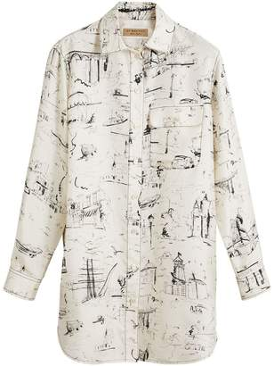 Burberry Landmark Print Silk Longline Shirt