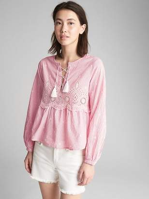 Gap Long Sleeve Stripe Eyelet Blouse