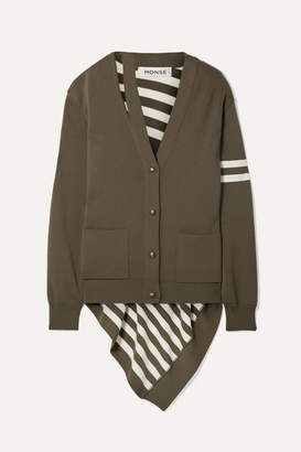 Monse Asymmetric Striped Wool Cardigan - Green
