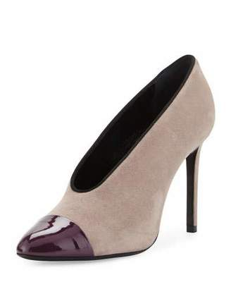 Lanvin Suede Cap-Toe 105mm V-Neck Pump, Gray/Aubergine $775 thestylecure.com