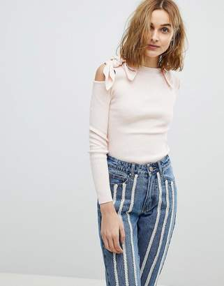 Lost Ink Sweater With Bow Cold Shoulder