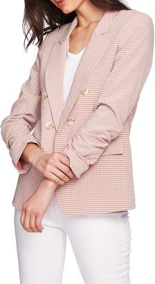 1 STATE 1.STATE Ruched Sleeve Double Breasted Gingham Blazer