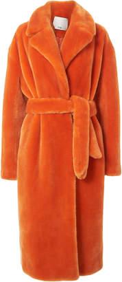 Tibi Orange Faux Fur Coat