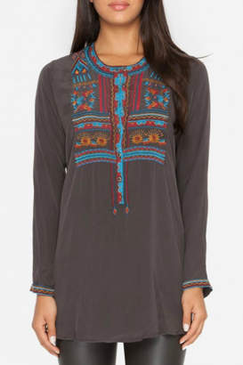 Johnny Was Grey Silk Embroidered Blouse
